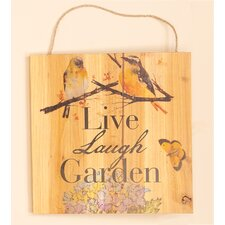 Live, Lunch, Garden Hanging Wood Sign