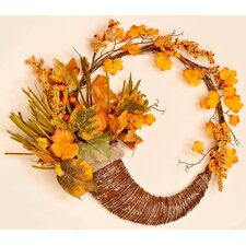"18"" Fall Long Grasses, Berries, Pumpkins and Leaves Wreath"