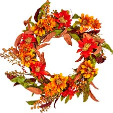 "24"" Fall Flowers, Berries and Leaves Wreath"