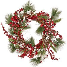 Snowy WP Berry Pine, Pine Cone, Wreath