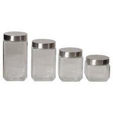 Wayfair Basics 4 Piece Square Glass Canister Set