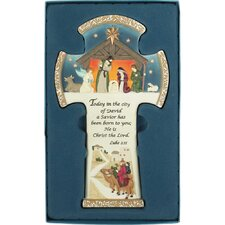 Today in the City of David Resin Nativity Scene Wall Cross with Poem Card Insert