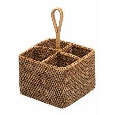 Rattan Bottle and Silverware Caddy Basket