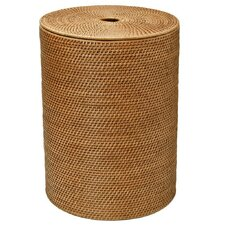 Round Rattan Laundry Hamper with Cotton Liner