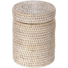 La Jolla Handwoven Round Rattan Container, Insert, Twist-off Lid, Large, White Wash