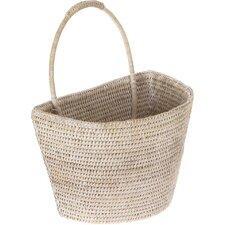 La Jolla Handwoven Rattan Wall Basket, Large, 13 X 8 X 15.5 Inch, White Wash