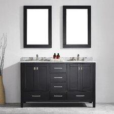 "Gela 60"" Double Vanity Set with Mirror"