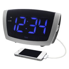 LED Blue Digit USB Alarm Clock