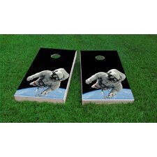 Astronaut Floating Above Earth Light Weight Cornhole Game Set