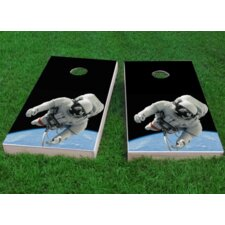 Astronaut Floating Above Earth Cornhole Game (Set of 2)