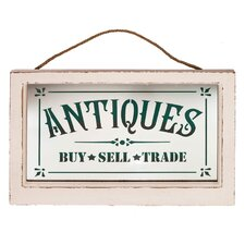 'Antiques' Wood Framed Glass Sign Wall Décor