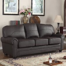 Upholstered Scroll Arm Leather Sofa