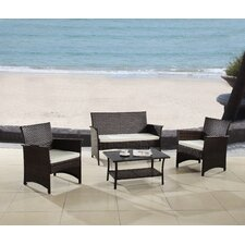 Modern Outdoor Garden Patio 4 Piece Seating Group with Cushion