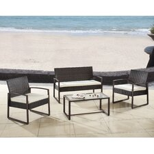 Modern Outdoor Patio 4 Piece Seating Group with Cushion