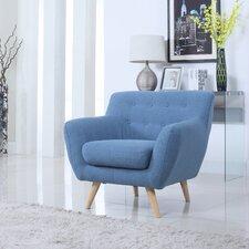 Mid-Century Modern Tufted Fabric Club Chair