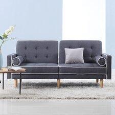 Mid Century Modern Two Tone Splitback Tufted Linen Convertible Sofa