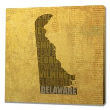 Delaware Textual Art on Wrapped Canvas