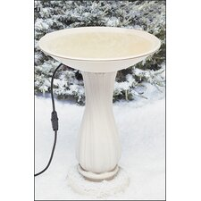 "20"" Beige Heated Bird Bath on Pedestal"