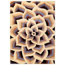 Modern Blue Floral Area Rug