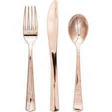 Rosegold Metallic Plastic Cutlery (Set of 24)