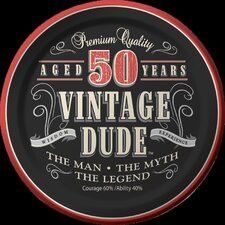 Vintage Dude 50th Birthday Dessert Plates (Set of 8)