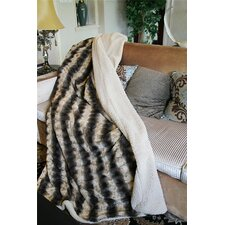 Striped Faux Fur Throw Blanket