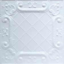 "Pre Painted 23.75"" x 23.75"" Metal Tile in White"