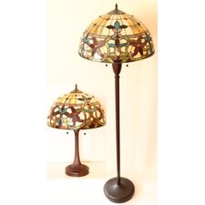 Serena d'italia 2 Piece Floral Table and Floor Lamp Set