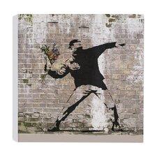 Leinwanddruck Blumenbomber von Banksy - 41 x 41 cm