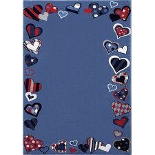 Teppich Just Hearts in Blau
