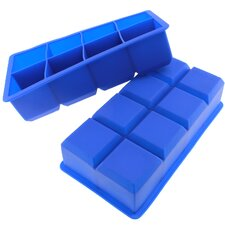 8 Cavity Flexible Large Ice Cube Silicone Tray (Set of 2)