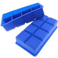 8 Cavity Flexible Large Ice Cube Silicone Tray (Set of 2)