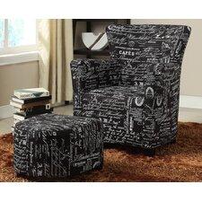 Fabric Club Chair/Ottoman Set