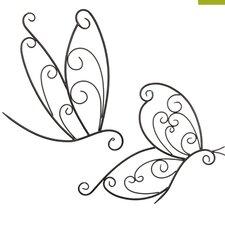 2-tlg. Wanddekoration-Set Dragonfly Butterfly