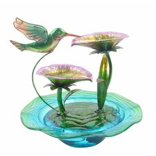 Polyresin Hand Painted Hummingbird Glass Tabletop Water Fountain