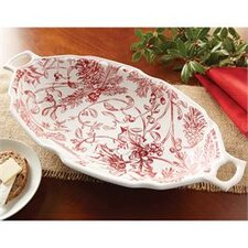 Holly Toile Oval Serving Bowl