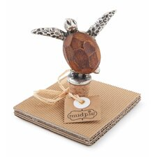 Metal and Wood Turtle Bottle Topper