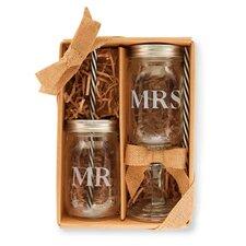 2 Piece Mr. and Mrs. Mason Jar Set