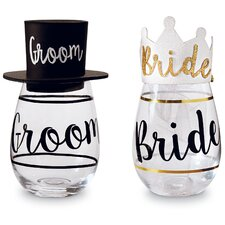 Wedding 4 Piece Bride and Groom Wine Glass and Hat Set