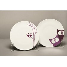 Owls Dessert 4 Piece Plate Set (Set of 4)