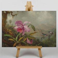Leinwandbild Pink Flower, Kunstdruck von Martin Johnson Heade