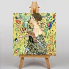 "Leinwandbild ""Lady with a Fan"" von Gustav Klimt, Kunstdruck"
