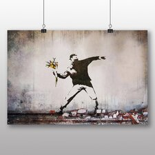 """Flower Thrower Graffiti"" by Banksy Art Print on Canvas"