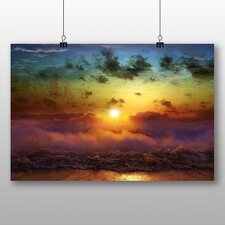 Clouds Beach Rainbow Sunset Photographic Print Wrapped on Canvas
