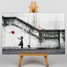 """Girl with Balloon Graffiti No.2"" by Banksy Art Print on Canvas"