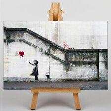 "Leinwandbild ""Girl with Balloon TV Graffiti No.2"" von Banksy, Grafikdruck"