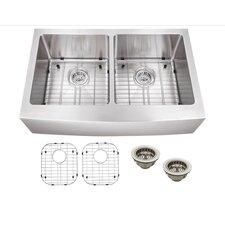 "33"" x 20"" Stainless Steel 16 Gauge Apron Front 50/50 Kitchen Sink"