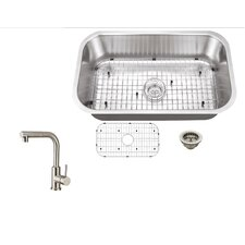 "28"" x 16"" Single Bowl Kitchen Sink with Faucet"