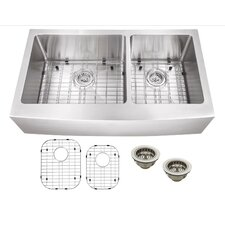 """35.87"""" x 21.25"""" Stainless Steel 16 Gauge Apron Front 60/40 Double Bowl Kitchen Sink"""