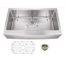 """36"""" x 20"""" Stainless Steel 16 Gauge Apron Front Single Bowl Kitchen Sink"""